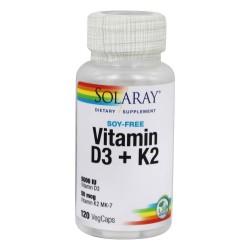 Solaray Vitamin D3+k2 5000iu  soy free veg cap 120